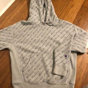 Grey champion logo hoodie